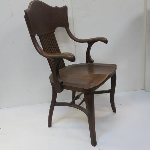 Three Oak Arm Chairs with Curved Back Splats: - 2