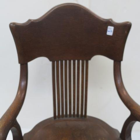 Three Oak Arm Chairs with Curved Back Splats: - 3