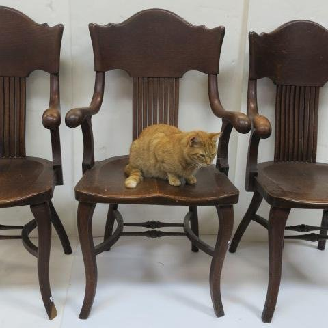 Three Oak Arm Chairs with Curved Back Splats: - 4