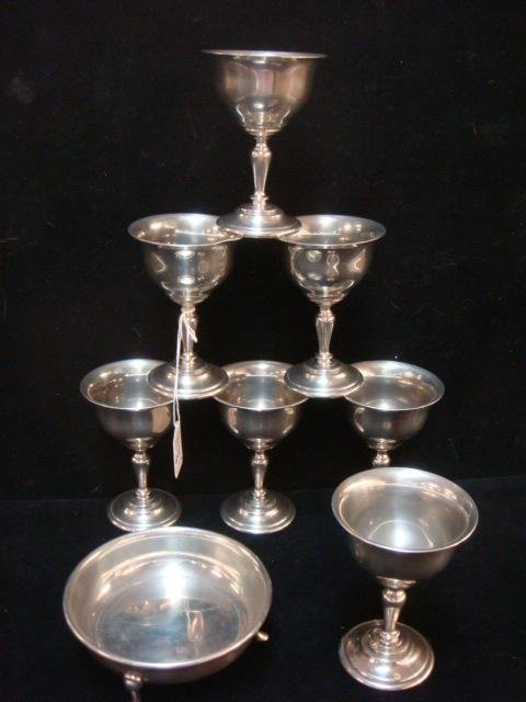 Shirley Pewter Williamsburg VA Goblets and Bowl: