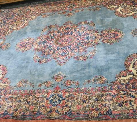 Oriental Style Carpet with Blue and Pink Ground: