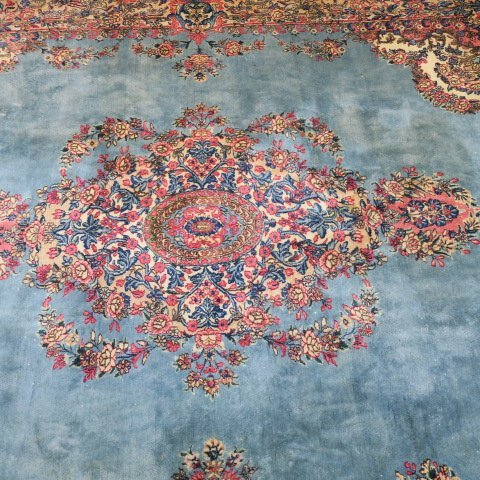 Oriental Style Carpet with Blue and Pink Ground: - 2