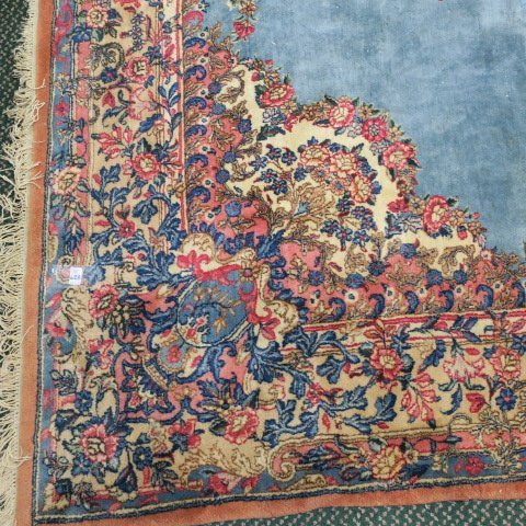 Oriental Style Carpet with Blue and Pink Ground: - 3