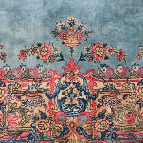 Oriental Style Carpet with Blue and Pink Ground: - 4