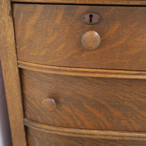 Circa 1900 Oak Six Drawer Dresser, Bowed Drawers: - 2