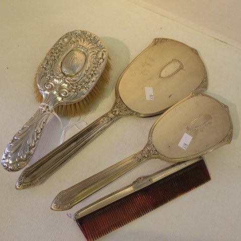 2 Sterling Silver Brushes, Mirror, Comb, One TIFFANY: