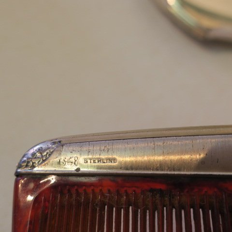 2 Sterling Silver Brushes, Mirror, Comb, One TIFFANY: - 5