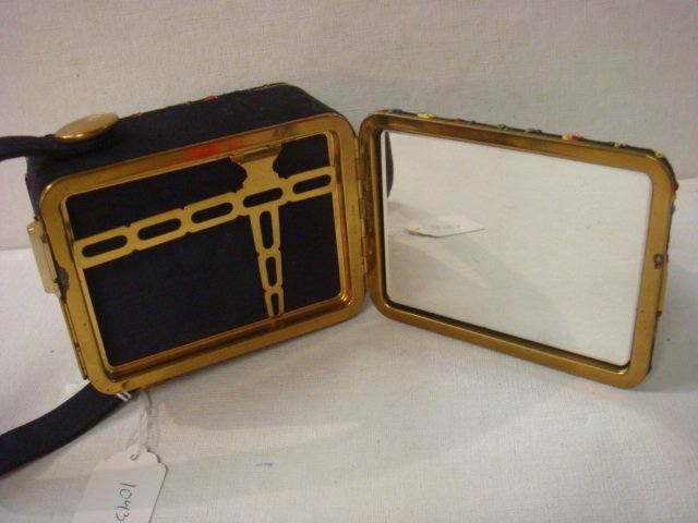 Vintage 1940's LIN-BREN Purse with Compact, Comb: