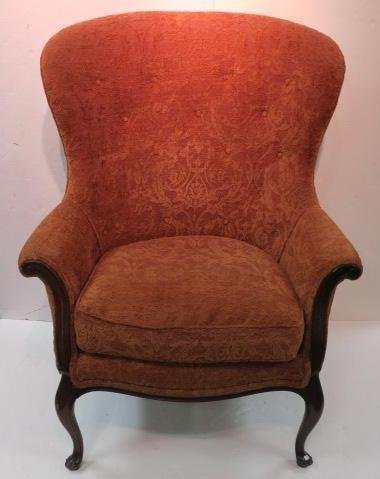 Burnt Orange Button Tufted Wing Chair: