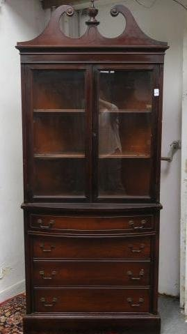 Mahogany Corner Cupboard with Bowed Top Drawer: