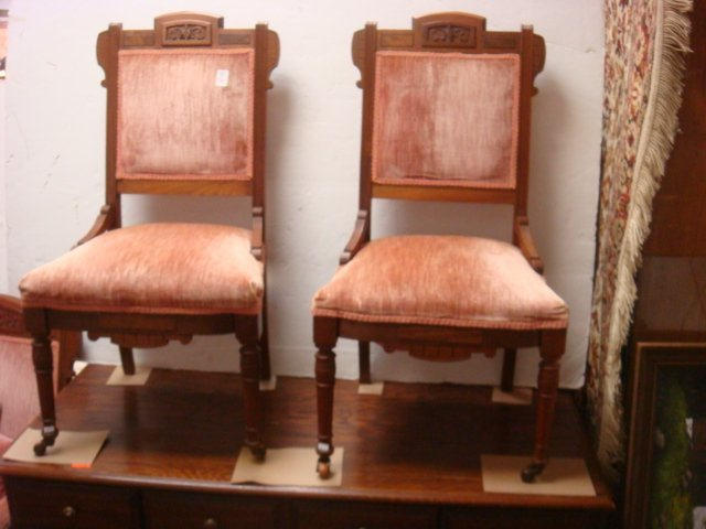 Two Eastlake Side Chairs and Arm Chair, CA. 1885: - 2