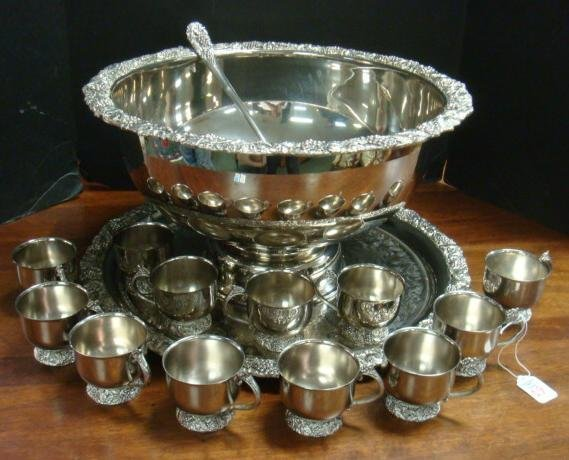 Silver-plate Punch Bowl, Cups, Ladle and Tray, 15 PCS: