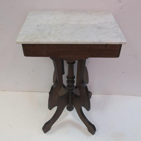 Victorian East Lake Marble Top Parlor Table: