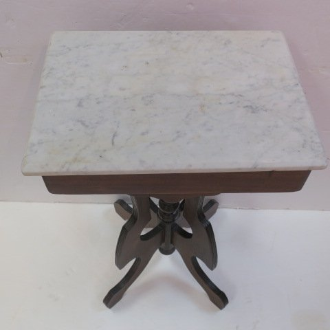 Victorian East Lake Marble Top Parlor Table: - 3