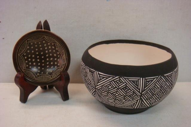 Taos Pueblo Clay Bowl and Small Bowl: