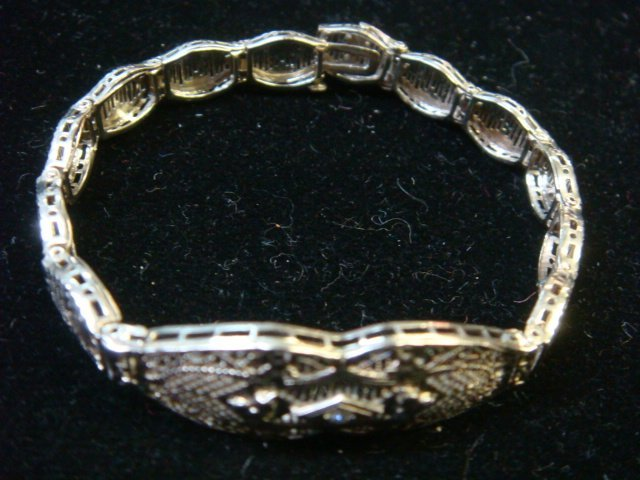 Edwardian/Deco 10KT Gold/Diamond Filigree Bracelet: