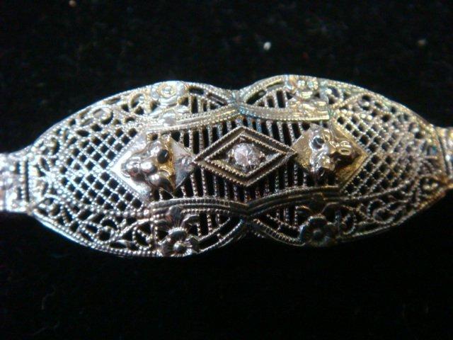 Edwardian/Deco 10KT Gold/Diamond Filigree Bracelet: - 2