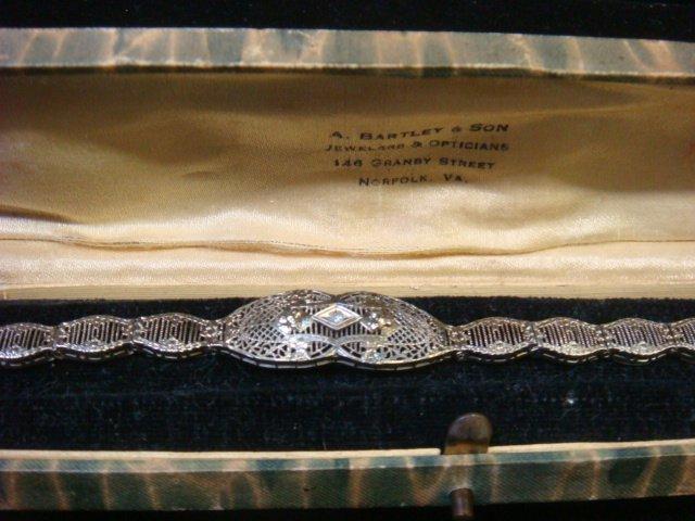 Edwardian/Deco 10KT Gold/Diamond Filigree Bracelet: - 3