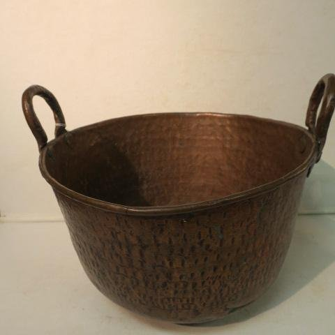Antique Double Handled Hand Hammered Copper Pot: