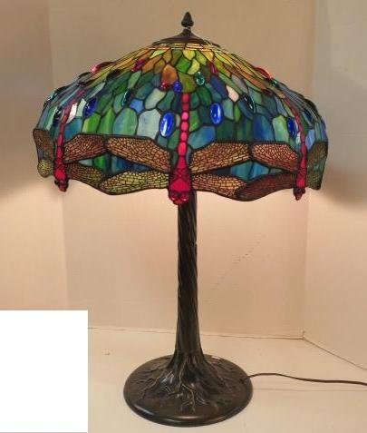 "Tiffany Style Dragonfly Table Lamp, 30"" Tall:"