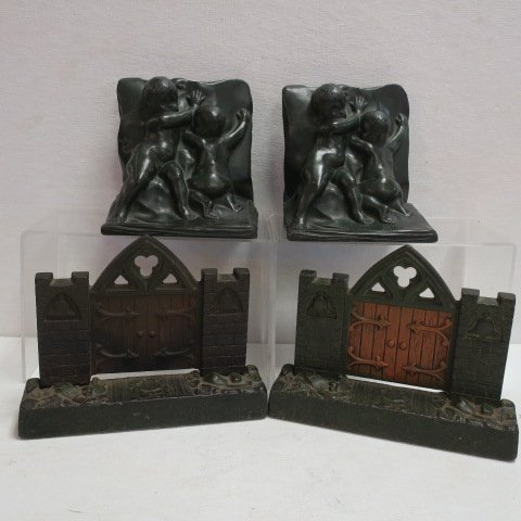 Two Pairs of Metal Bookends: