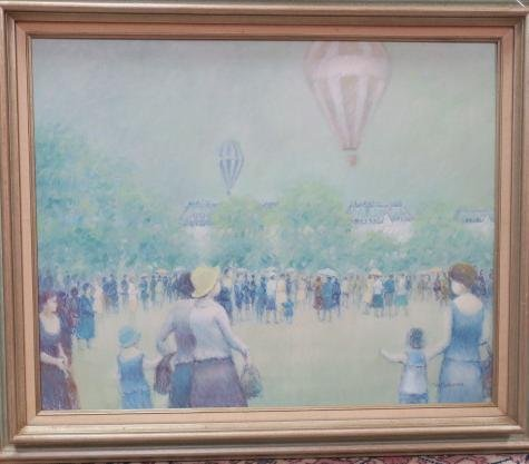 "Jean Daumier Signed ""Hot Air Balloons"" Oil on Canvas:"