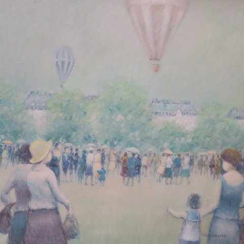 "Jean Daumier Signed ""Hot Air Balloons"" Oil on Canvas: - 2"
