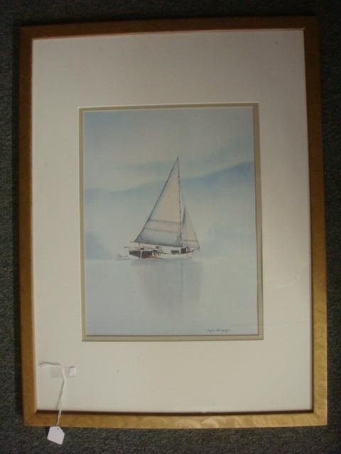 S. BLEINBERGER Watercolor Waterscape with Sailboat: