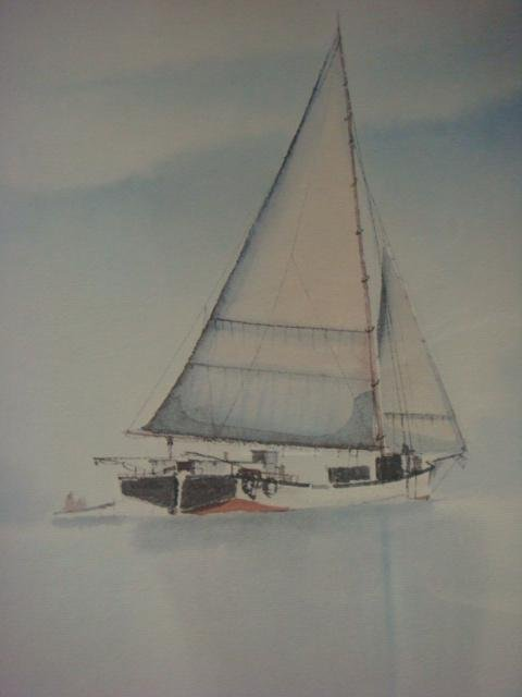 S. BLEINBERGER Watercolor Waterscape with Sailboat: - 2