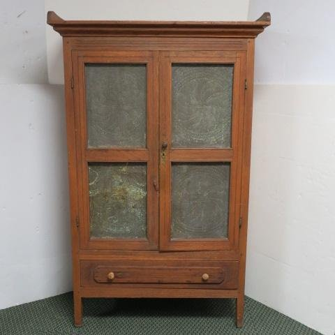 Antique Oak Pie Safe with Four Punched Tin Panels:
