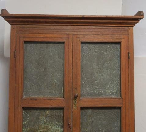 Antique Oak Pie Safe with Four Punched Tin Panels: - 2