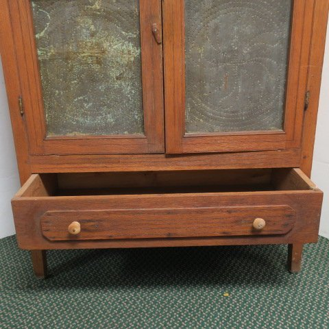 Antique Oak Pie Safe with Four Punched Tin Panels: - 3