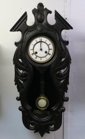 ANSONIA Carved Case Open Face Wall Clock: