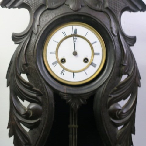 ANSONIA Carved Case Open Face Wall Clock: - 6