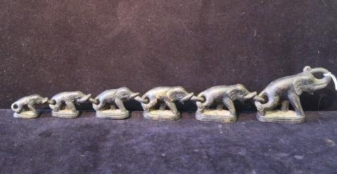 Six Bronze Thailand Elephant Opium Weights: