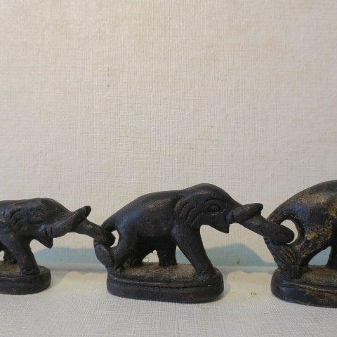 Six Bronze Thailand Elephant Opium Weights: - 3