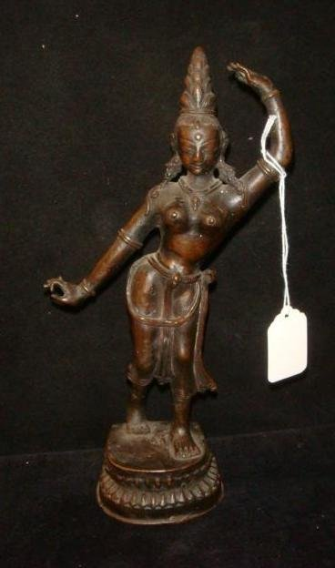 Bronze Indian Temple Dancer Female Figurine: