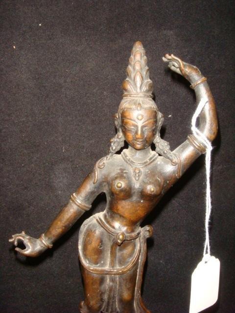 Bronze Indian Temple Dancer Female Figurine: - 2