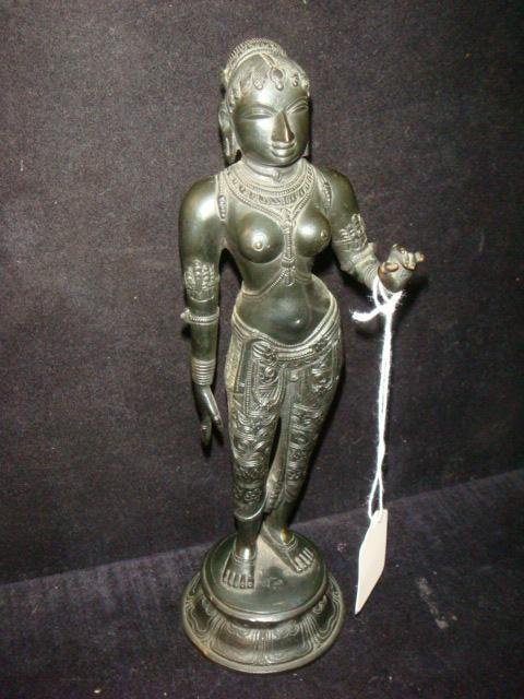 Bronze Indian Female Temple Dancer Figurine: - 3