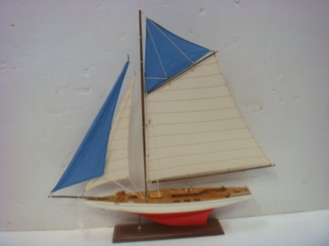 Handcrafted Model of Racing Sloop with Stand: