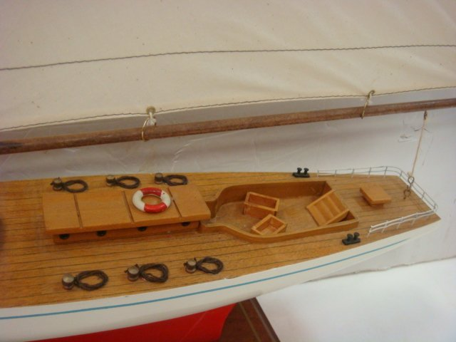 Handcrafted Model of Racing Sloop with Stand: - 2