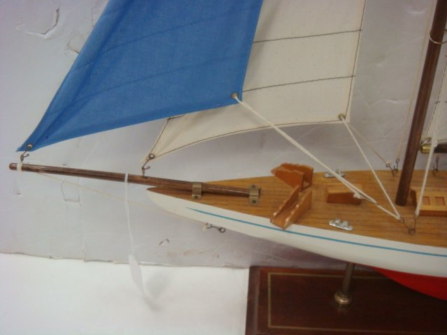 Handcrafted Model of Racing Sloop with Stand: - 3