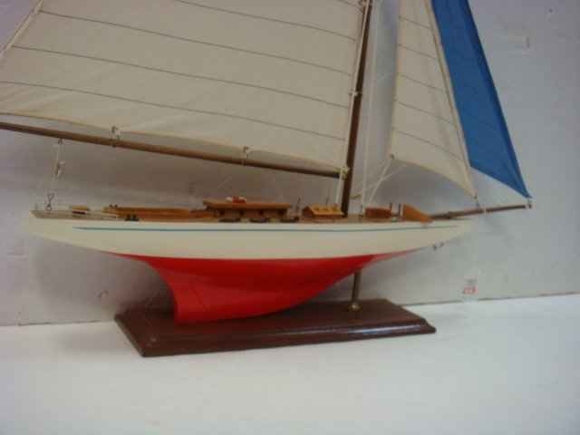 Handcrafted Model of Racing Sloop with Stand: - 4
