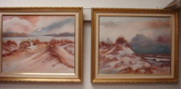 Two EISENBATH Signed Oil on Canvas Beachscapes:
