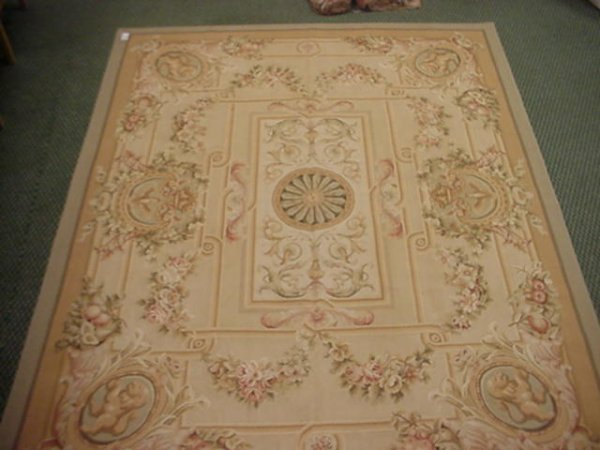 867: Individually Knotted Aubusson Rug:
