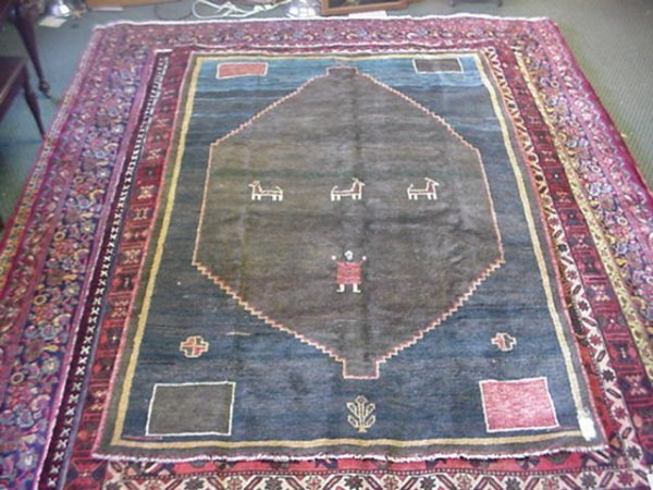872: All Wool Hand Knotted Persian Gabbeh Rug: