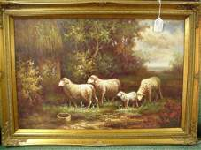 1151: Flock of Sheep Oil on Canvas in Gold Frame:
