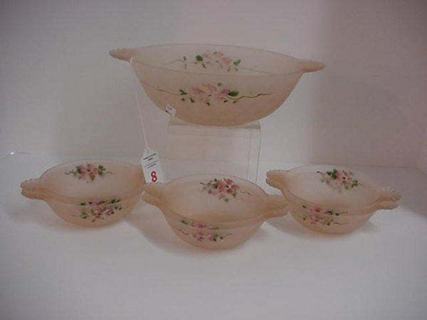 8: Handpainted Pink Satin Glass Berry Set