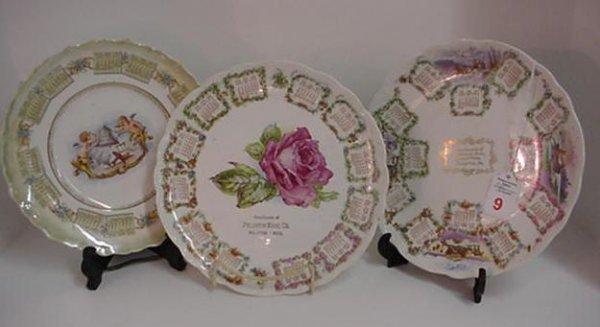 9: 3 Early 1900's Ceramic Calendar Advertising Plates