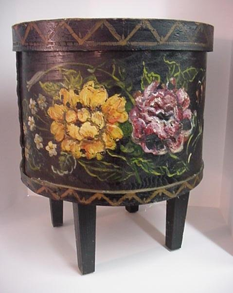 10: Handpainted Floral Cheese Box Made Into Sewing Stan